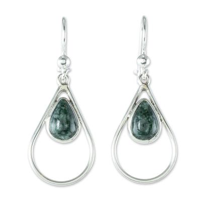 Jade dangle earrings, 'Simple Drop in Dark Green' - Green Jade and Sterling Silver Teardrop Dangle Earrings