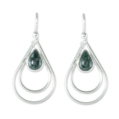 Jade dangle earrings, 'Double Drop in Dark Green' - Green Jade and Sterling Silver Teardrop Dangle Earrings