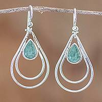 Jade dangle earrings, 'Double Drop in Light Green' - Green Jade and Sterling Silver Teardrop Pendant Necklace