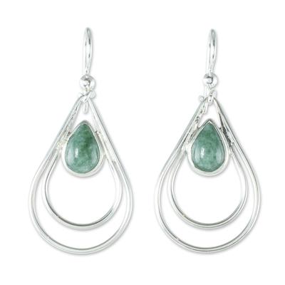 Jade dangle earrings, 'Double Drop in Light Green' - Green Jade and Sterling Silver Teardrop Pendant Necklace