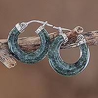 Jade hoop earrings, 'Zacapa Beauty' - Natural Guatemalan Jade Hoop Earrings