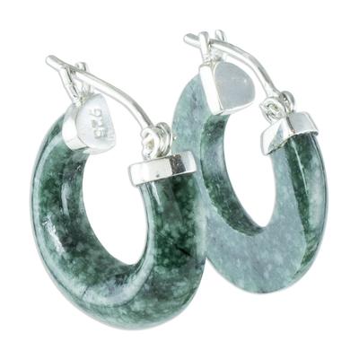 Jade hoop earrings, 'Zacapa Beauty' - Natural Guatemalan Jade Hoop Earrings