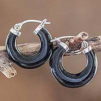 Jade hoop earrings, 'Zacapa Midnight'