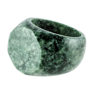 Jade signet ring, 'Indomitable' - Signet Style Green Guatemalan Jade Ring