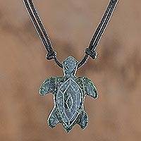 Jade pendant necklace, 'Marine Turtle'