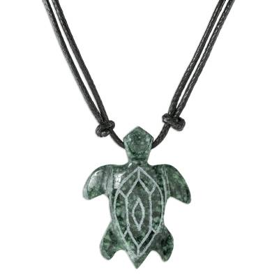 Jade pendant necklace, 'Marine Turtle' - Hand Carved Jade turtle Necklace