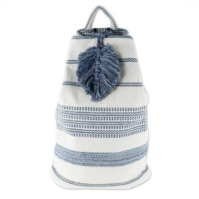 Blue and Off-White Cotton Shoulder Bag (15 Inch)