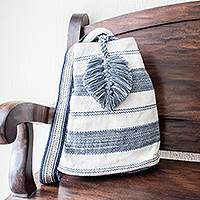 Cotton shoulder bag, 'Flowing River in Blue' (12 inch) - Handcrafted Off-White and Blue Cotton Shoulder Bag (12 Inch)