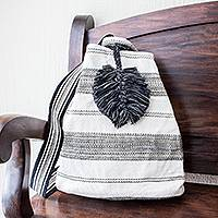Cotton shoulder bag, 'Flowing River in Black' (12 inch) - All-Cotton Black and Off-White Shoulder Bag (12 Inch)