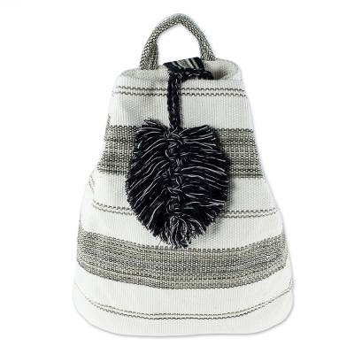 All-Cotton Black and Off-White Shoulder Bag (12 Inch)