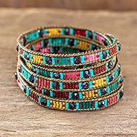 Beaded wrap bracelet, 'Fruit Salad' - Colorful Beaded Wrap Bracelet