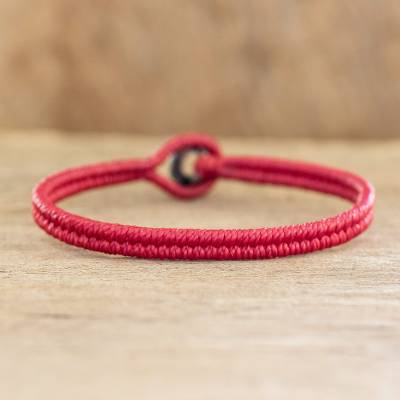 Macrame wristband bracelet, 'Far Reaches' - Red Macrame Wristband Bracelet