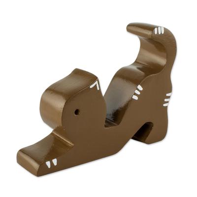 Handmade Cedar Wood Cat Phone Holder