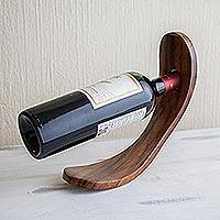 Wood bottle holder, 'Slope' - Reclaimed Wood Wine Bottle Holder