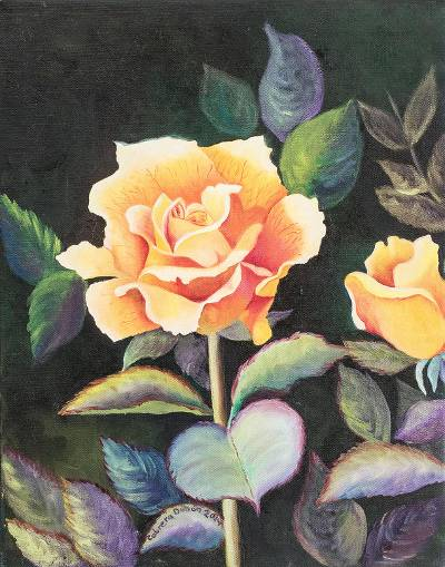 'A Thousand I Love Yous' - Original Love Story Oil Painting of Yellow Roses