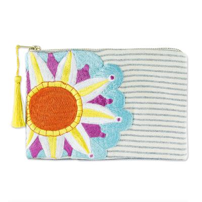 Sun Motif Embroidered Cotton Denim Cosmetic Bag