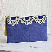 Cotton cosmetic bag, 'Blue Sunbeams' - Sun Motif Embroidered Blue Cotton Cosmetic Bag