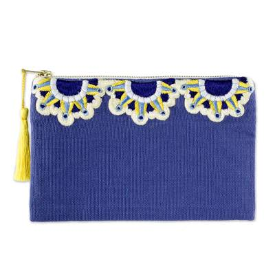 Sun Motif Embroidered Blue Cotton Cosmetic Bag