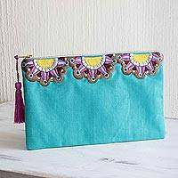Cotton cosmetic bag, 'Turquoise Sunbeams' - Sun Motif Embroidered Turquoise Cotton Cosmetic Bag