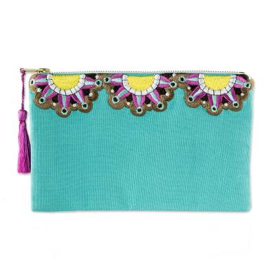 Sun Motif Embroidered Turquoise Cotton Cosmetic Bag