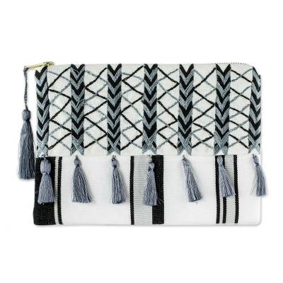 Black & Grey Embroidered White Cotton Cosmetic Bag