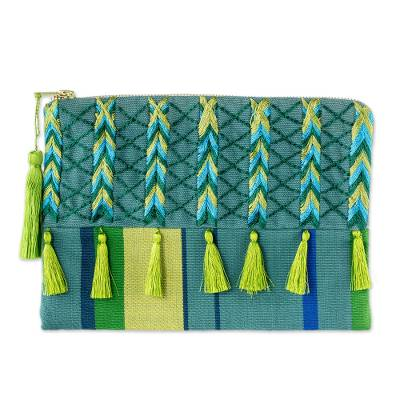 Green & Blue Embroidered Turquoise Cotton Cosmetic Bag