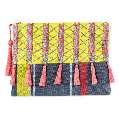 Pink and Yellow Embroidered Grey Cotton Cosmetic Bag