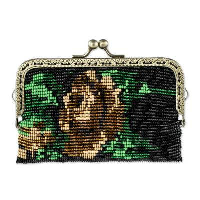 Beaded Black Clasp Coin Purse with Golden Rose Motif