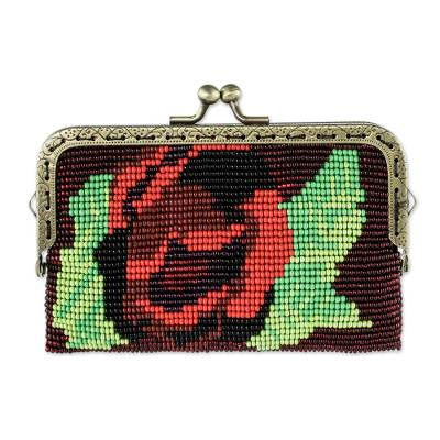 Beaded Black Clasp Coin Purse with Crimson Rose Motif