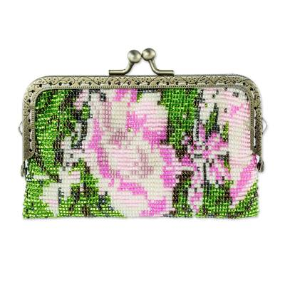 Beaded Clasp Coin Purse with Pink Rose Motif