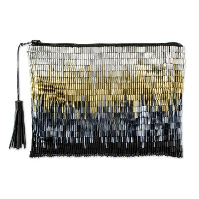 Petite Gold and Silver Hand Beaded Clutch Evening Bag