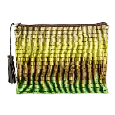Petite Gold and Green Hand Beaded Clutch Evening Bag