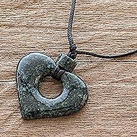 Jade pendant necklace, 'Amor' - Guatemalan Natural Dark Green Jade Heart Pendant Necklace