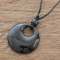 Jade pendant necklace, 'Ciclos' - Guatemalan Natural Dark Green Jade Pendant Necklace