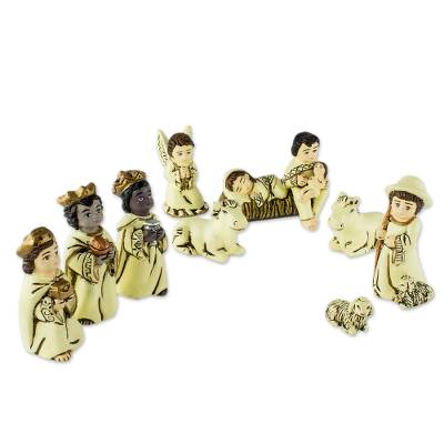 Pale Yellow Ceramic Christmas Nativity Scene (9 Pieces)