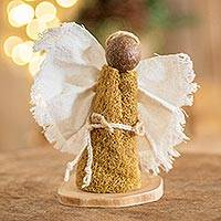 Natural fiber statuette, 'Meadow Angel' - Central American Natural Fiber Angel Statuette