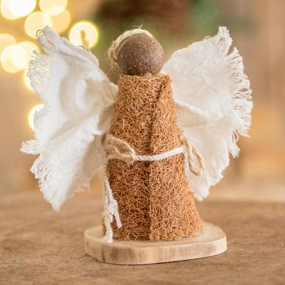 Natural fiber angel statuette, 'Nativity Messenger' - Natural Fiber Minimalist Angel Statuette From El Salvador