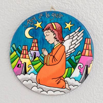 Wood wall plaque, Praying Child Angel