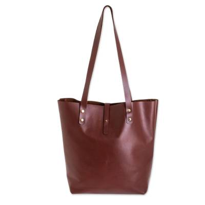 Dark Brown And Gold Leather Tote Bag From El Salvador