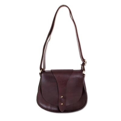 Warm Brown Leather Adjustable Messenger Bag from El Salvador