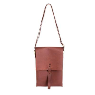 Handcrafted Leather Messenger Bag From Guatemala