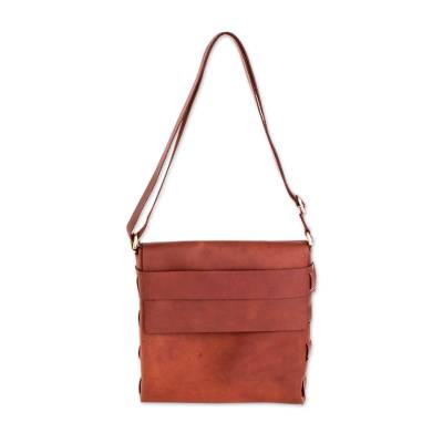 Brown Leather Messenger Bag from Guatemala