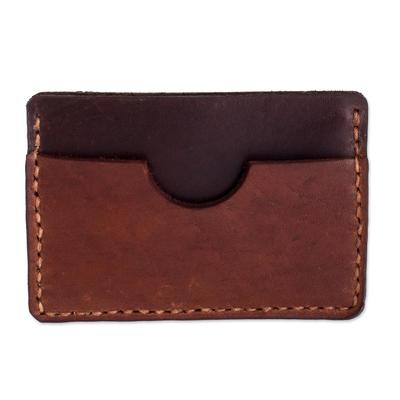 Brown Leather 3-Pocket Card Holder from El Salvador