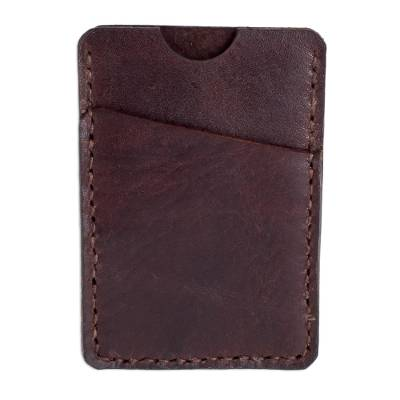 Handcrafted Brown Leather Card Holder from El Salvador
