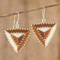 Beaded dangle earrings, 'Triangulation in Spice' - Beaded Triangular Dangle Earrings
