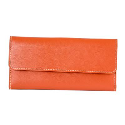 Orange Leather Wallet from El Salvador