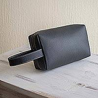 Leather toiletry case, 'Man of the World in Flint' - Hand Crafted Grey Leather Men's Toiletry Case