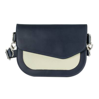 Compact Navy and Ivory Leather Shoulder Bag