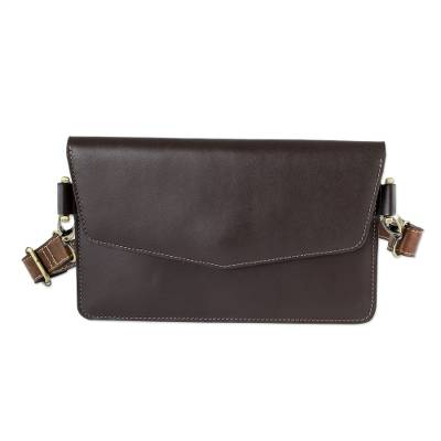 Hand Crafted Brown Leather Bag from El Salvador