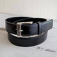 Men's leather belt, 'Subtle Elegance in Black' - Men's Simple Black Leather Belt
